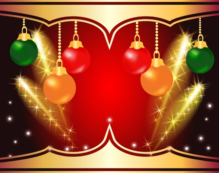 ration: Christmas background with salute, firework and ball