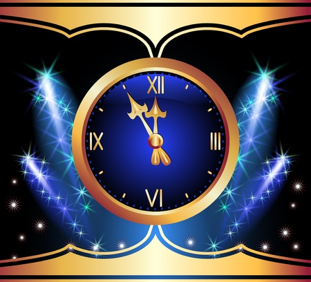 Glowing background with clock and stars Vector