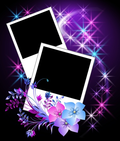 Page layout photo album with flowers Stock Vector - 10490617