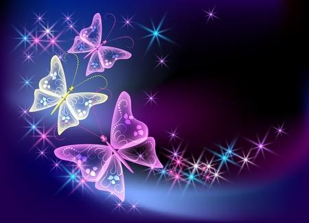 Gloeiende achtergrond met transparante vlinder en sterren Vector Illustratie