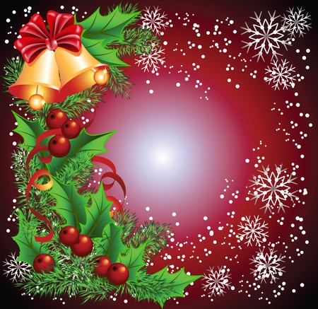 Christmas background with bells Illustration