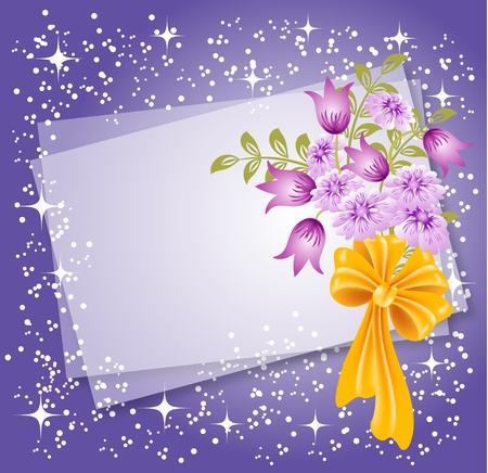 snapshot: Background for text or photo with flowers and bow Illustration