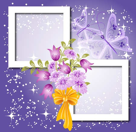 Background for text or photo with flowers, butterfly and bow
