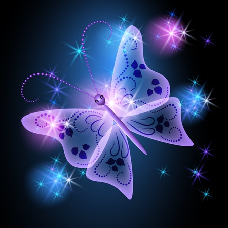 Glowing background with transparent butterfly and stars Stock Vector - 10490643