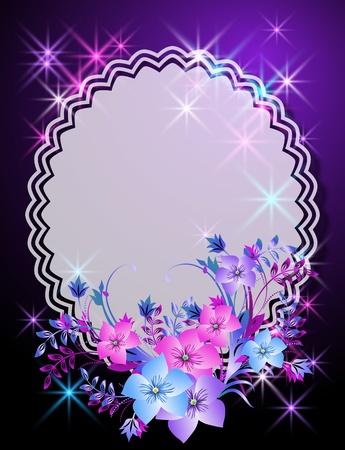 insertar: Fondo m�gico con flores, estrellas y un lugar para texto o foto
