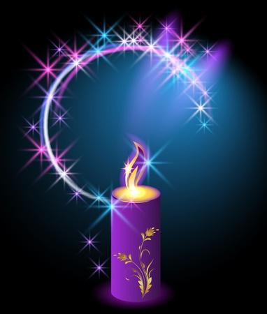 Brandende kaars met een ornament en een halo van sterren