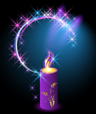 Burning candle with an ornament and a halo of stars Vector