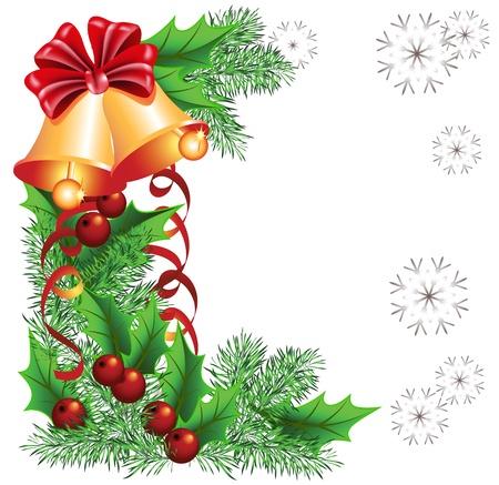 houx: Arrière-plan de Noël avec cloches