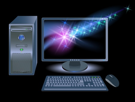 liquid crystal display: Computer, monitors, mouse and keyboard with shining stars Illustration