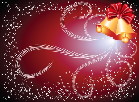 Christmas background with bells and bow Vector