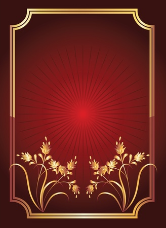 Red background with golden ornament, elegant frame and beams Vector