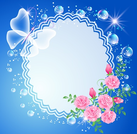 Magic background with roses, butterfly, frame and a place for text or photo. Vector