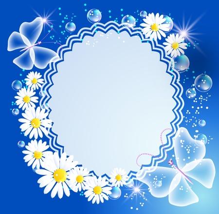 Magische achtergrond met daisy, vlinder, frame en een plaats voor tekst of foto.