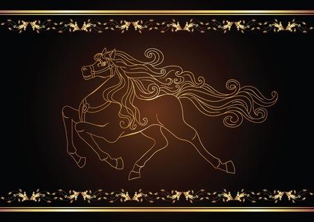 untamed: Fondo con caballo dorado