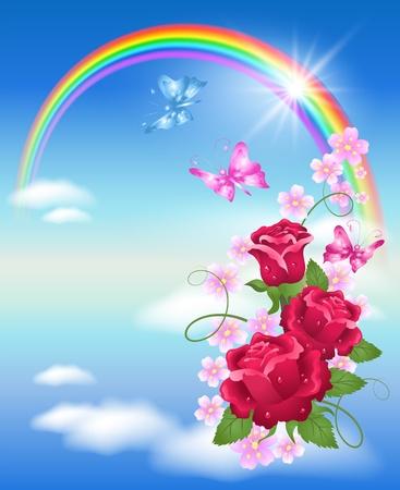 Arco Iris, nubes, rosas y mariposa Ilustración de vector
