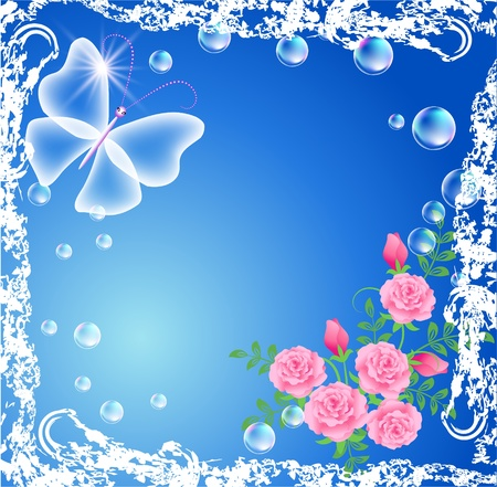 Background with transparent butterfly, roses and bubbles in grunge frame