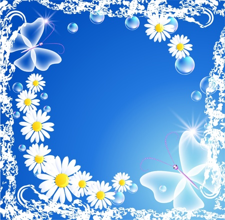 Background with camomiles, butterfly and bubbles in grunge frame Vector