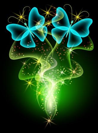 희미한 빛: 연기와 나비 빛나는 배경