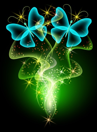 Glowing background with smoke and butterfly Illustration
