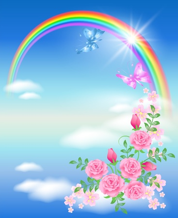 rainbow clouds: Rainbow, clouds, roses and butterfly