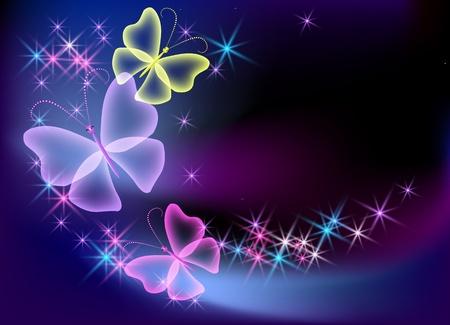 Sfondo incandescente con farfalla trasparente e stelle