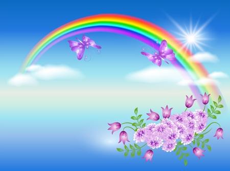 arcoiris: Arco iris, nubes, flores y mariposas