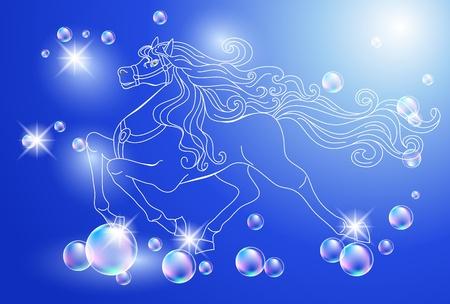 untamed: Antecedentes con el caballo blanco y las estrellas Vectores
