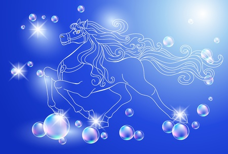 horses in the wild: Background with white horse and stars