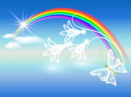 Rainbow, clouds, flowers and butterfly Vector