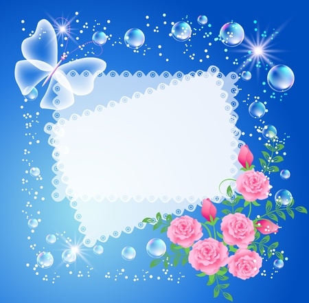 photographic effects: Magic background with roses, butterfly, frame and a place for text or photo. Illustration