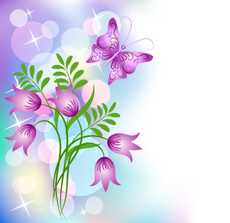 Floral background with butterfly Vector