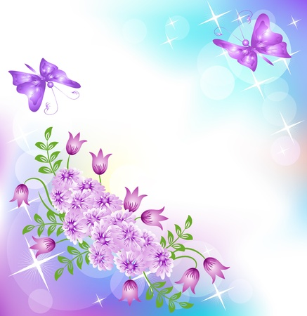 Floral background with butterfly Stock Vector - 10490657