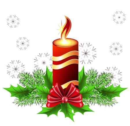 Christmas burning candle with bow and fur tree Stock Vector - 10607376