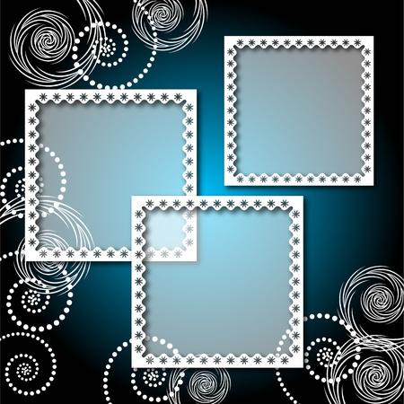 insert: Background with lacy, elegant photo frame Illustration