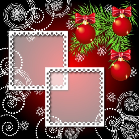 year curve: Christmas background with photo frame