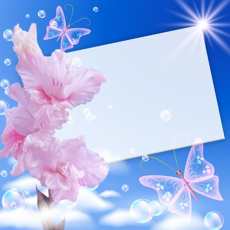 gladiolus: Gladiolas, paper, clouds and butterflies Stock Photo