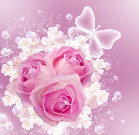 bulles: Carte avec des roses et des bulles