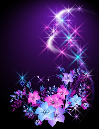 to shine: Glowing background with flowers and stars