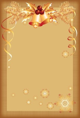 year curve: Christmas background with bells Illustration