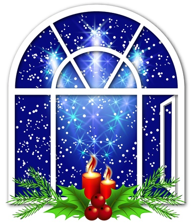 Christmas window with candles and salute Vector