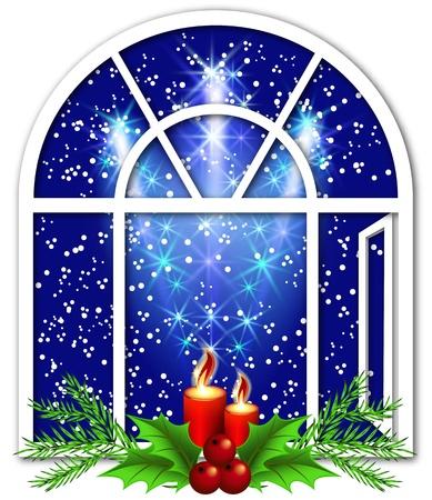 window open: Ventana de Navidad con velas y saludo