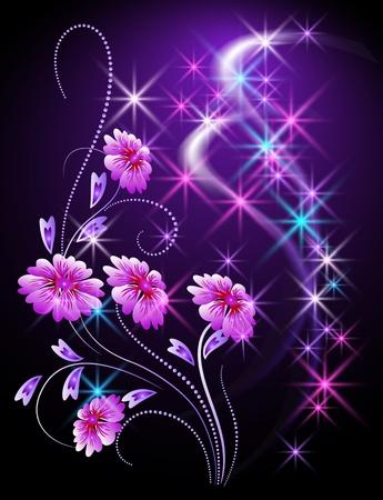 희미한 빛: 꽃과 별 빛나는 배경