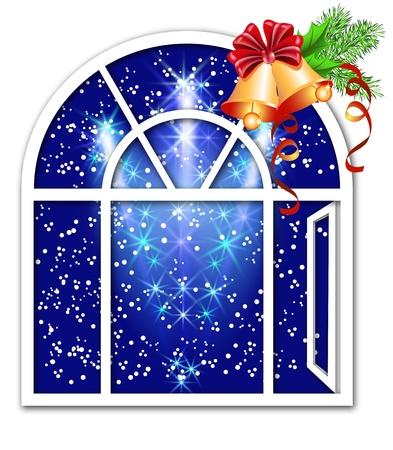 window open: Ventana de Navidad con campanas Vectores