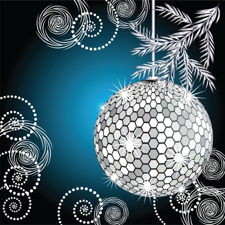 Disco ball with silver fur tree Vector