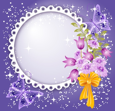 Background for text or photo with flowers, butterfly and bow Vector