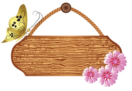 table surface: Wooden  signboard with flowers and butterfly for text