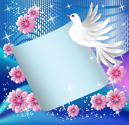 pigeon: Magic background with paper, pigeon and a place for text