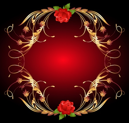 Red rose with golden ornament Stock Vector - 10694229