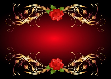 Red rose with golden ornament Stock Vector - 10694245