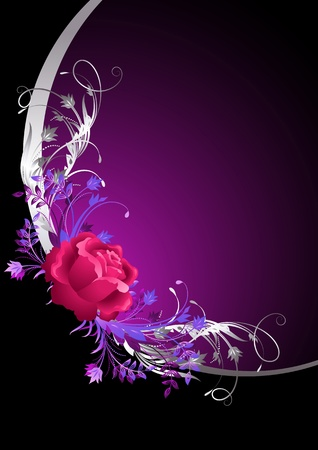 flower decoration: Rose with silver ornament Illustration